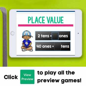 First Grade Math Unit 5: Place Value (9 games)