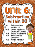 First Grade Math Unit 6 Subtraction within 20 Games Worksheets Activities to 20
