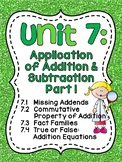 First Grade Math Unit 7: Missing Addends, Fact Families, True or False Equations