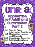 First Grade Math Unit 8: Balancing Equations, Choosing an Operation, and more!