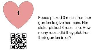 First Grade Math Valentine's Day QR Code Scavenger Hunt