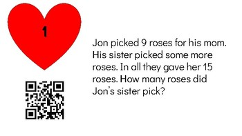First Grade Math Valentine's Day QR Code Scavenger Hunt