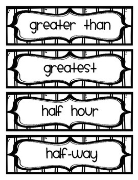 First Grade Math Vocabulary Word Wall