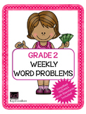 Second Grade Math: Weekly Word Problems and INDIANA Math Standards
