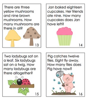 End of the Year Activities Review Word Problems First Grade Task Cards  Centers