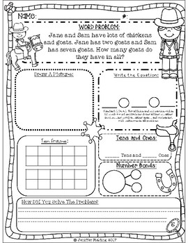First Grade Math Word Problems Notebook Standards Aligned