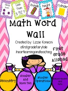 Math Word Wall in Chevron- First Grade Aligned