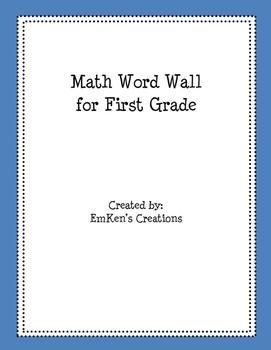 First Grade Math Word Wall Words