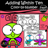 First Grade Math Worksheet Adding within 10 Color by Number