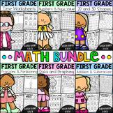 First Grade Math Worksheet Bundle - Addition, Shapes, Plac