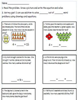 First Grade Math Worksheet Using CC I Can Statements