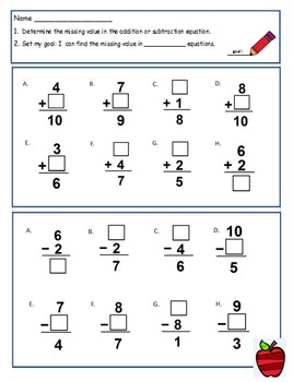 First Grade Math Worksheet Using CC I can statements For 1.OA.8