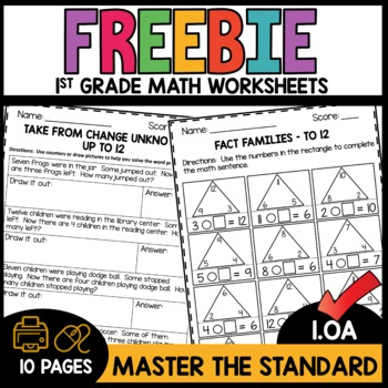 First Grade Math Worksheets FREEBIE MASTER THE STANDARD
