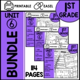 First Grade Math Worksheets Unit 6 BUNDLE