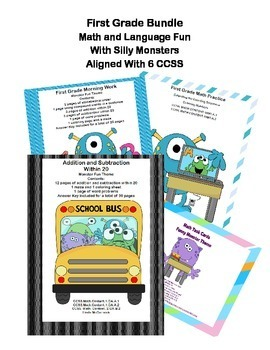 First Grade Math and ELA Bundle - 6 CCSS - Funny Monsters Theme