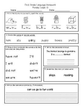 First Grade Math and Language Homework Pack Set 2