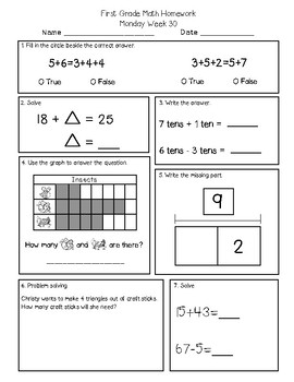 First Grade Math and Language Homework Set 4