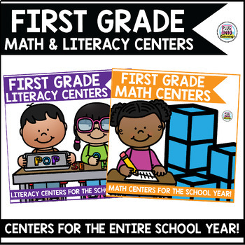 First Grade Math and Literacy Centers Bundle