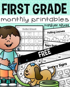 FREE - First Grade Math and Literacy Monthly Printable Pages
