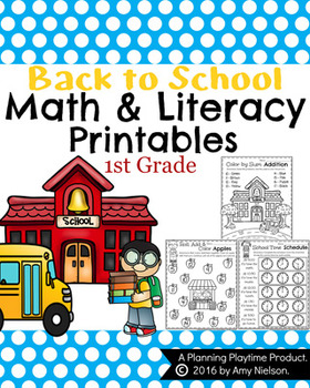 First Grade Math and Literacy Printables - Back to School