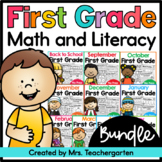 First Grade Math and Literacy Printables - Monthly BUNDLE