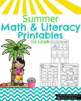 First Grade Math and Literacy Printables - Summer