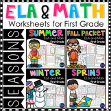 First Grade Math Worksheets and Literacy Worksheets - Four Seasons