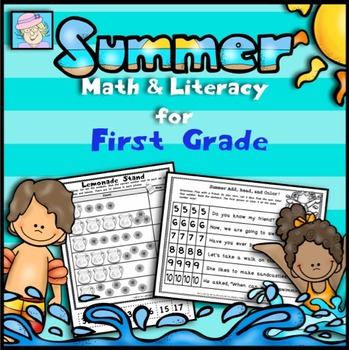 End of the Year First Grade Math & Literacy Worksheets | Math Review Packet 1st