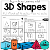 First Grade Math Geometry 3D Shapes Worksheets HW Test FULL WEEK Solid Shapes