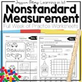 First Grade Math Nonstandard Measurement FULL WEEK Worksheets Homework Test