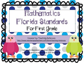 First Grade Mathematics Florida Standards Checklist Eagle Themed
