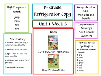 First Grade McGraw Hill Wonders Unit 1 Parent Letters