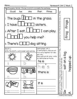 First Grade McGraw Hill Wonders Unit 2 Homework