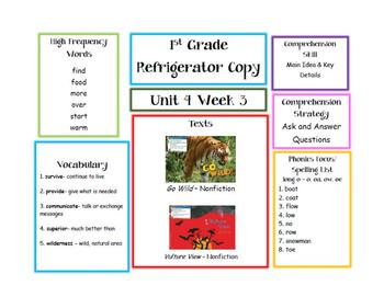 First Grade McGraw Hill Wonders Unit 4 Parent Letters