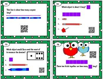 First Grade Measure Length QR word problem scoot - Tek 1.7 A-D