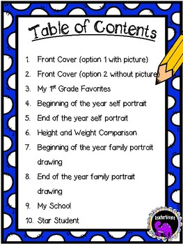 First Grade Memory Book - End of Year