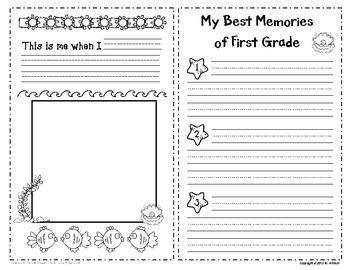 First Grade Memory Book and Certificate - Ocean Theme - EDITABLE
