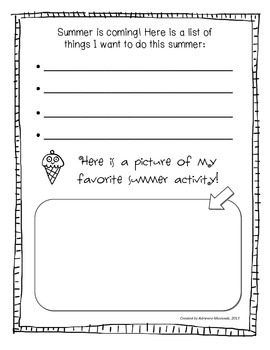 First Grade Memory Book writing packet
