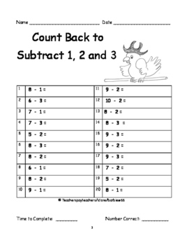 First Grade Mental Math Strategy Practice / Timed Tests:  8 Strategies 25 pgs