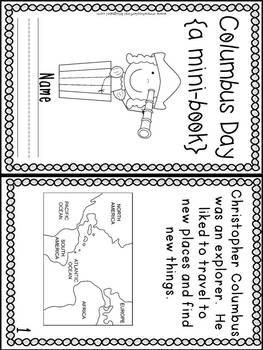 First Grade Mini-Book: Columbus Day