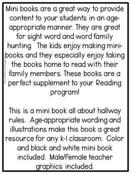 First Grade Mini Book: Hallway Rules