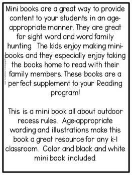 First Grade Mini Book: Outdoor Recess Rules