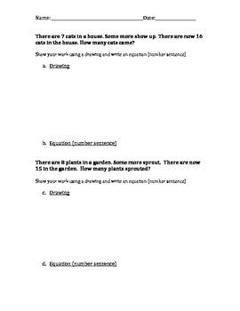 First Grade Missing Addend Math Word Problems
