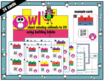 OWL about Missing Addends (Known Unknown) Range of 2-20 QR Codes fun