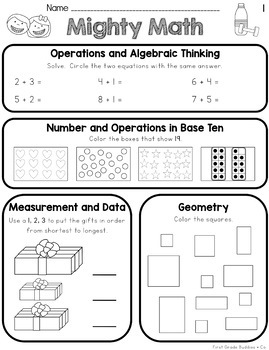 First Grade Spiral Review Math Worksheets {Weekly CC ...