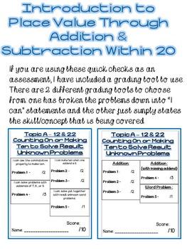 First Grade Math Module 2 Quick Checks