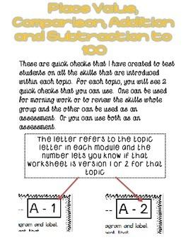 First Grade Math Module 6 Quick Checks
