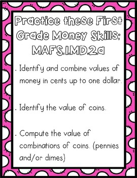 First Grade Money Activities