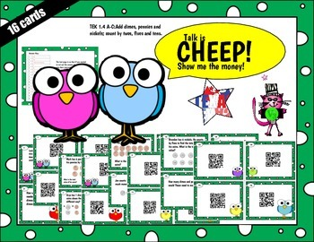 First Grade Money QR code task cards Station or Center TEK 1.4