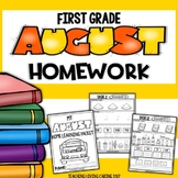 Back to School First Grade Monthly Homework or Morning Work - August